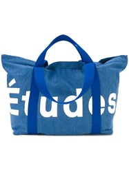 Etudes Logo Stamped Tote Bag Men Cotton Polyester Polypropylene One Size Blue