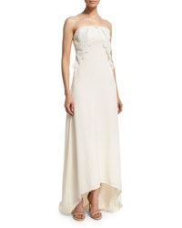Self Portrait Isabella Strapless Lace Trim Gown Off White Size 10