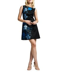 Kay Unger Floral Satin Dress Black Multi