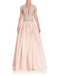 Naeem Khan Beaded Taffeta Gown Pale Pink