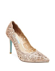Betsey Johnson Elsa Embellished Fabric Cutout Pumps Blush