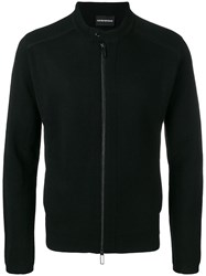 Emporio Armani Fitted Zipped Cardigan Black