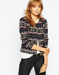 Vila Embrodiered Aztec Collarless Jacket Black