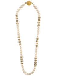 Chanel Vintage Pearl And Rhinestone Necklace White