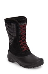 The North Face Women's Thermoball Tm Utility Waterproof Boot Black Deep Garnet Red