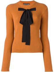 Rochas Bow Front Ribbed Jumper Yellow And Orange
