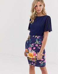 Paper Dolls Flue Sleeve 2 In 1 Printed Pencil Midi Dress Navy