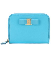 Salvatore Ferragamo Vara Coin Case Leather Wallet Blue
