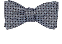 Barneys New York Men's Rectangle Jacquard Silk Bow Tie Blue