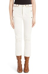 Chloe Women's Zip Cuff Crop Denim Biker Pants