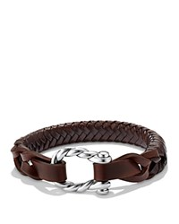 David Yurman Maritime Leather Woven Shackle Bracelet In Brown Brown Silver