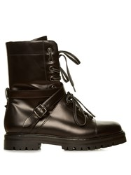 Valentino Rockstud Tread Sole Leather Ankle Boots Black