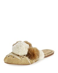 Figue Iris Pompom Embellished Mule Slide Gold