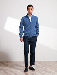 Shanghai Tang Wool Cashmere Lattice Cardigan With Silk Lining Denim