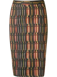 Andrea Marques Printed Midi Pencil Skirt Black