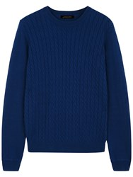 Jaeger Cable Crew Jumper Estate Blue