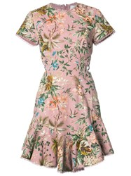 Zimmermann Cap Sleeve Floral Dress Pink Purple