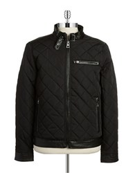 Guess Faux Leather Trimmed Quilted Jacket Black