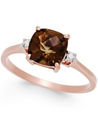 Macy's Smoky Quartz 1 2 3 Ct. T.W. And Diamond Accent Ring In 14K Rose Gold