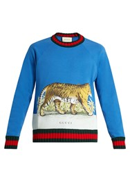 Gucci Walking Tiger Print Cotton Sweatshirt Blue Multi