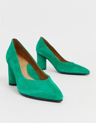 Selected Femme Pointed Court Shoe With Round Heel Green
