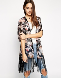 Parisian Flower Print Kimono With Tassles Black