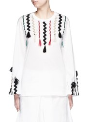 Toga Archives Squiggle Ribbon Applique Flare Sleeve T Shirt White