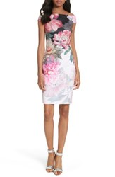 Ted Baker Women's London Emly Painted Posie Off The Shoulder Sheath Dress Baby Pink