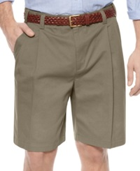 Geoffrey Beene Shorts Extender Waist Double Pleat Shorts Dark Olive
