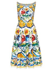 Dolce And Gabbana Majolica Print Scoop Back Dress White Multi