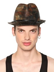 Move Vintage Effect Printed Straw Hat