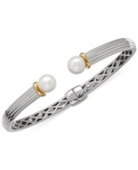 Macy's Freshwater Pearl 8Mm Bangle Bracelet In Sterling Silver And 14K Gold