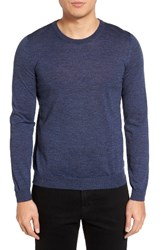 Boss Men's Leno B Crewneck Wool Sweater Open Blue