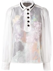 Carven Sheer Buttoned Blouse White