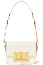 Tom Ford Embossed Patent Leather Shoulder Bag White