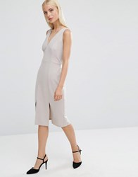 Asos Pencil Dress With Self Tie And Split Detail Grey