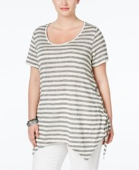 American Rag Plus Size Striped Handkerchief Hem T Shirt Only At Macy's Classic Black Combo