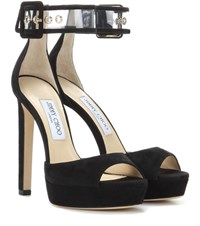 Jimmy Choo Mayner 130 Suede Sandals Black