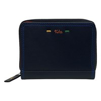 Tula Violet Leather Small Zip Around Wallet Purse Navy