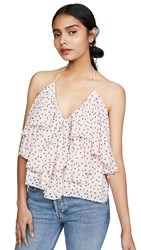 Wayf Ellie Ruffle Cami Rose Black Dot