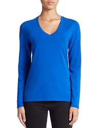 Lord And Taylor Stretch Cotton V Neck Tee Olympic Blue