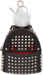 Fendi Black Fur Trimmed Studded Backpack Keychain