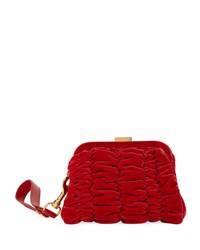 Tom Ford Quilted Velvet Clutch Bag With Wristlet Red