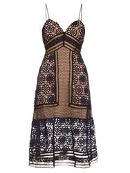 Self Portrait Floral Guipure Lace Midi Dress Navy Multi