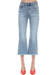 Levi's Cropped Ribcage Flared Denim Jeans Blue