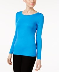 Cable And Gauge Long Sleeve Knit Top French Blue