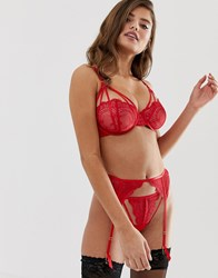 Wolf And Whistle Lace Detail Suspender In Red