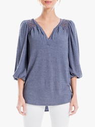 Max Studio 3 4 Sleeve Lace Insert Top Navy
