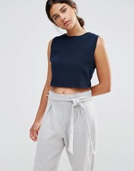 Native Youth Boat Neck Crop Top Navy