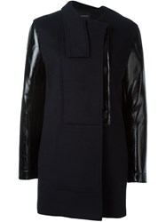 Cedric Charlier Panelled Double Breasted Coat Black